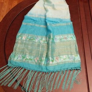 Bijoux Terner ombre turquoise scarf